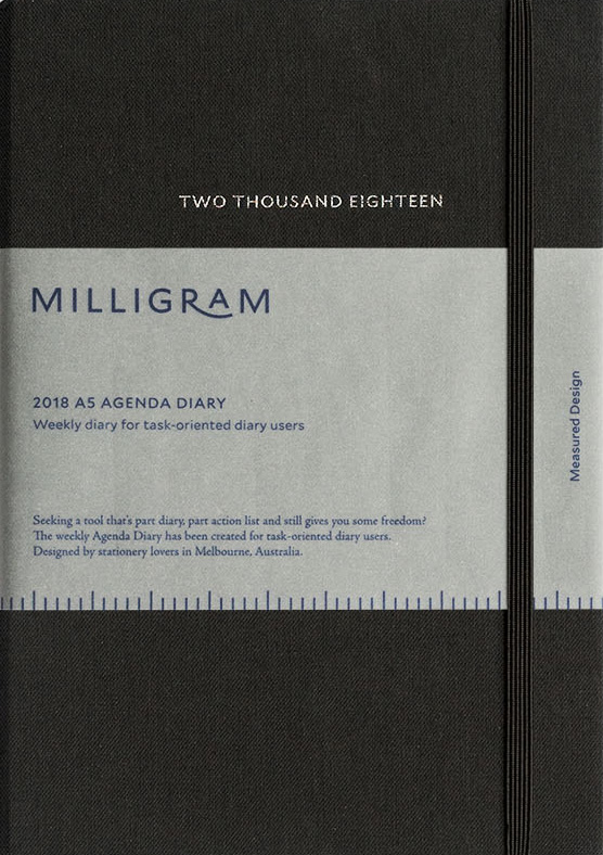 Milligram 2018 Agenda Diary Weekly Notebook B5 Black