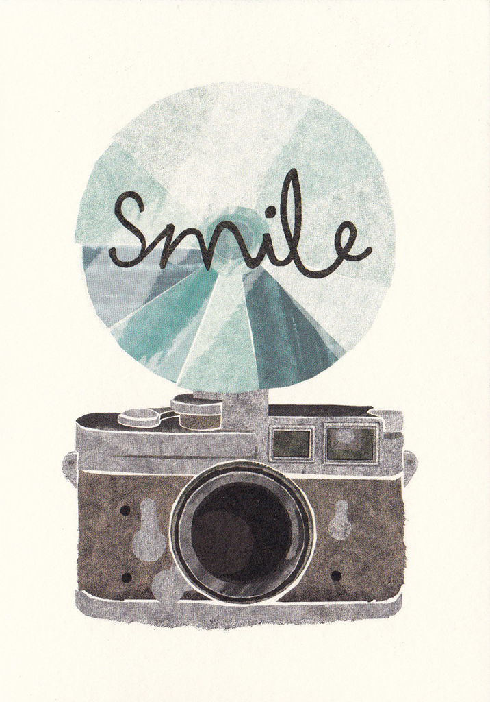 I Ended Up Here Greeting Card: Torn Paper Camera