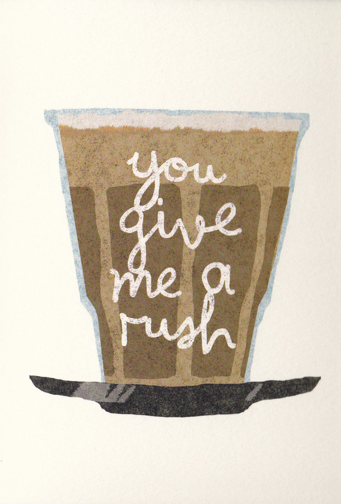 I Ended Up Here Greeting Card: Torn Paper Coffee