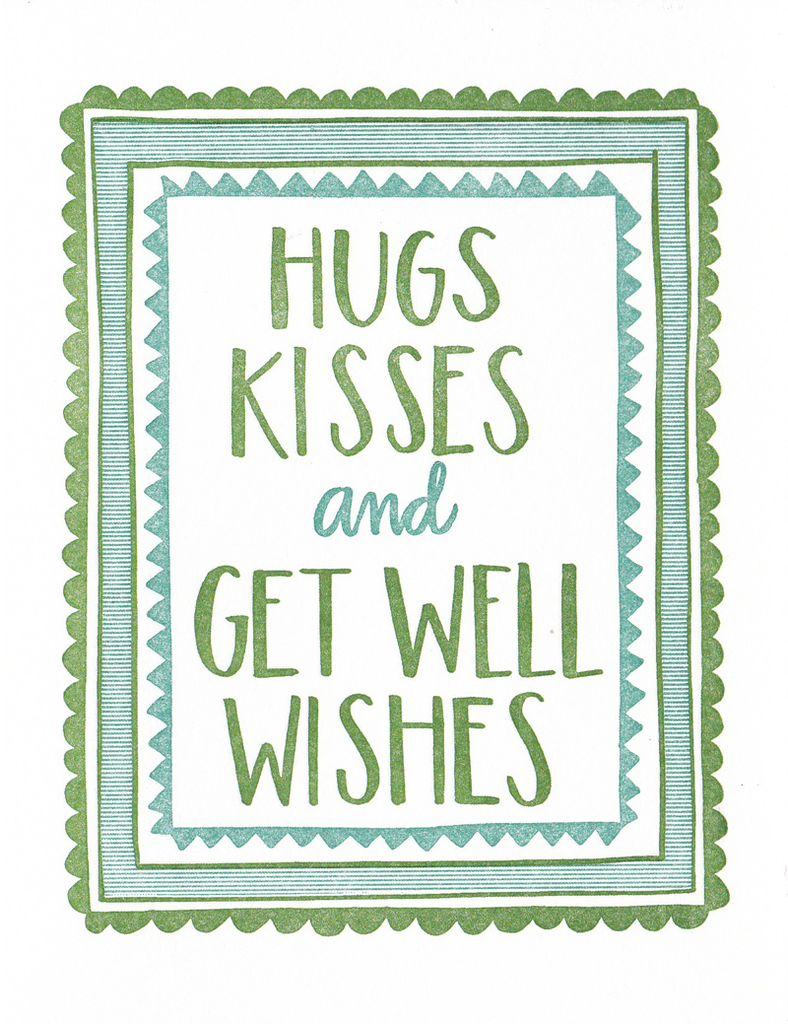 One Canoe Two Greeting Card: Hugs Kisses and Get Well Wishes
