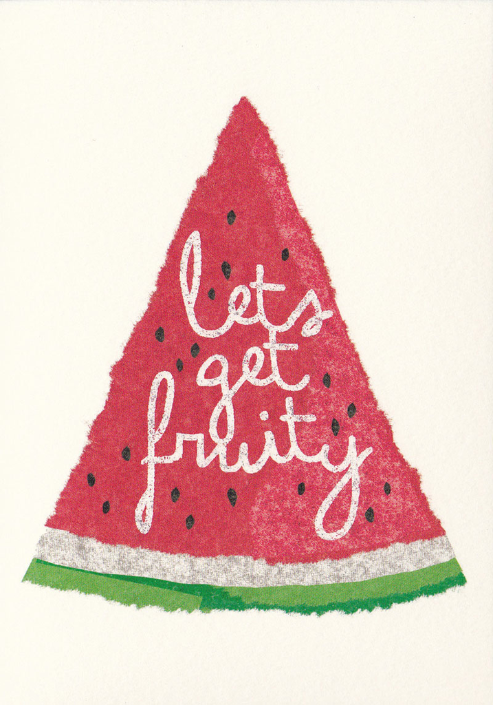 I Ended Up Here Greeting Card: Torn Paper Watermelon