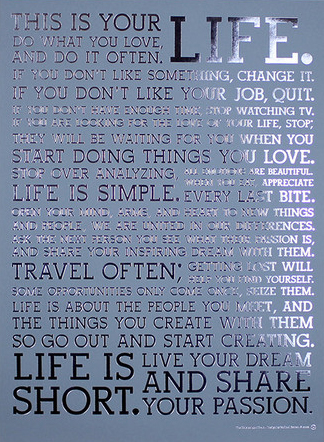 Holstee Dove Manifesto Poster: Steel Blue Paper/Silver Foil (18x24)