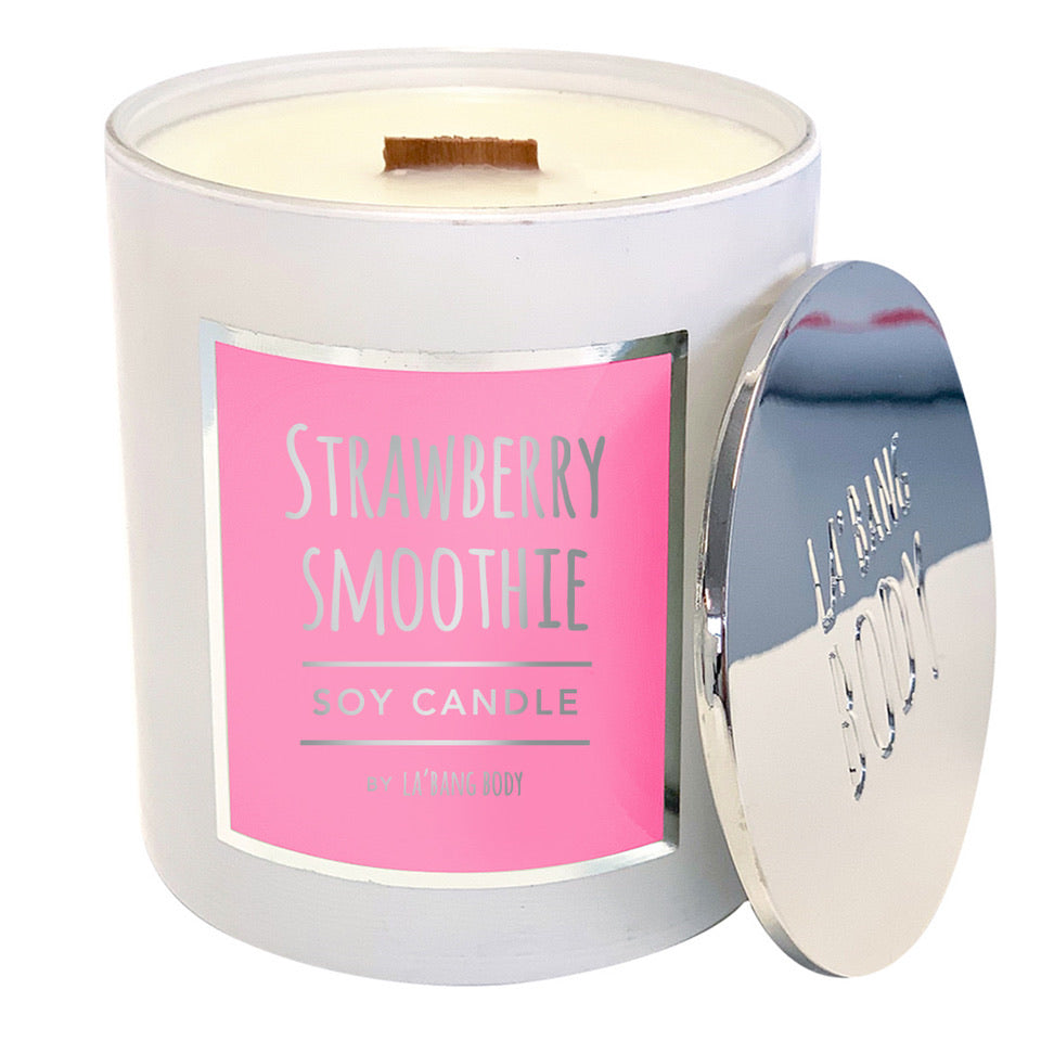 Wood wick  Candle - Strawberry Smoothie - new strawberry fragrance *