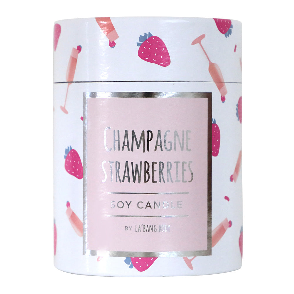 Wood wick  Candle - Champagne & Strawberries