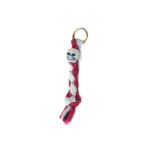 Red & White Leather Zipper Pull