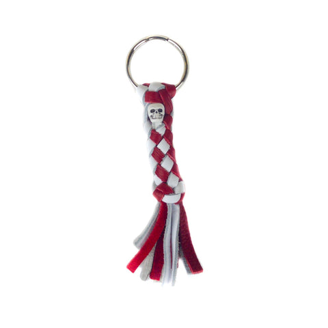 Red & White Leather Key Chain