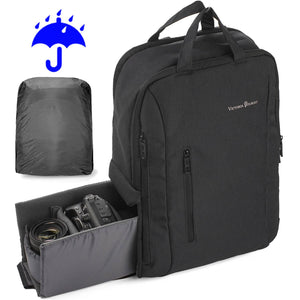 Victoriatourist C1101 Backpack with Laptop Compartment and Raincover - Black DSLR Camera Bag