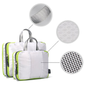 Wandf Travel Clean/Dirty Compression Packing Cubes with 6 Reusable TSA Bottles Mesh Bags Organizers WF18011119