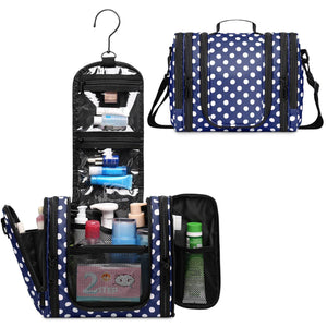 WF5016 Polka Dots Expandable Hanging Toiletry Bag