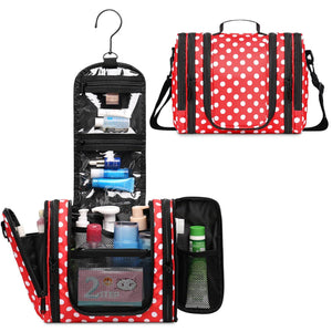 WF5016 Polka Dots Dopp Kit TSA Approved Bottles Expandable Hanging Toiletry Bag