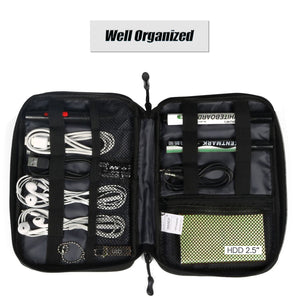 WANDF L1002 Portable Universal Electronics Accessories Case USB Drive Cable Organizer Bag Middle Size in Black
