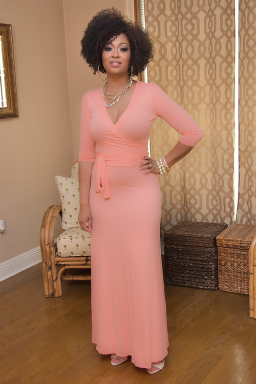 Omarosa in Peach - Chimes Boutique  - 1