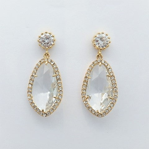 gold earrings crystal