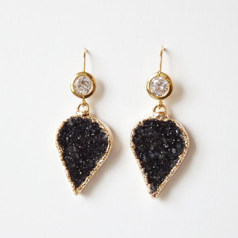 Black Druzy Earrings With Sparkly Cubic Zirconia Gold Plated Ear Hook