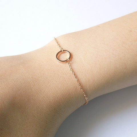 Rose Gold Bracelet with Circle, Made of Rose Gold Plated