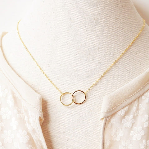 Circle necklace of double ring pendant made of 16k gold plated adruzy circle pendant necklace by adruzy aloadofball Gallery