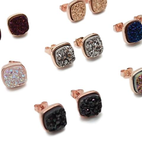 druzy earrings studs