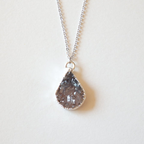 silver druzy necklace by Adruzy