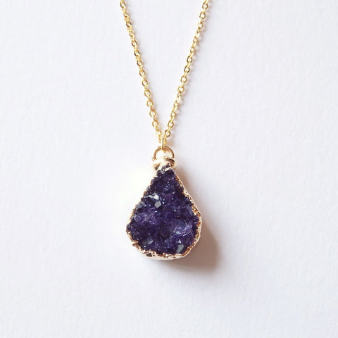 purple druzy necklace by Adruzy