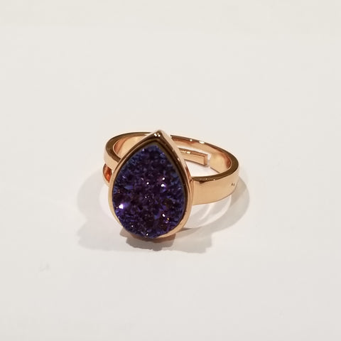 Rose Gold Druzy Ring With Black Teardrop Druzy