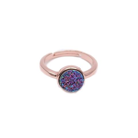 druzy ring rose gold plated