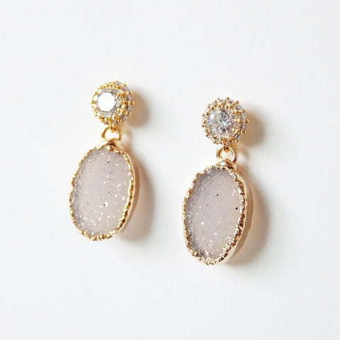 Gold Druzy Earrings Sparkly Cubic Zirconia Ear Post Gorgeous