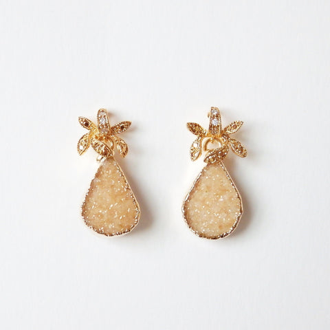 Gold Druzy Earrings With Beautiful Antique Flower Post