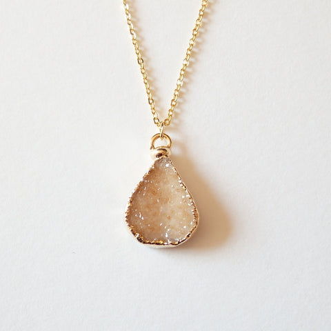 gold druzy necklace by Adruzy