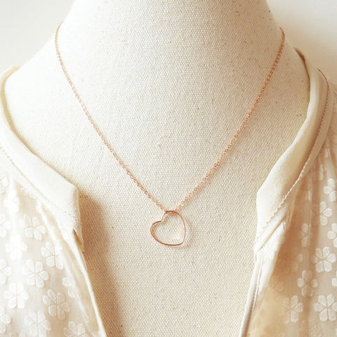 rose gold heart necklace by Adruzy