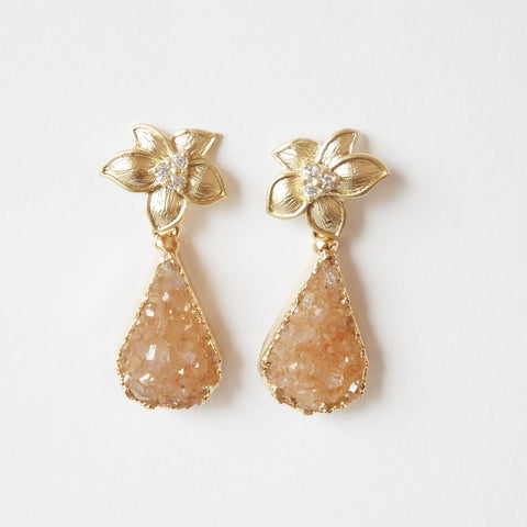 Orange Druzy Earrings With Gold Flower Post