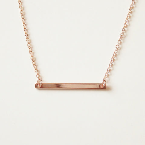 rose gold bar necklace by Adruzy