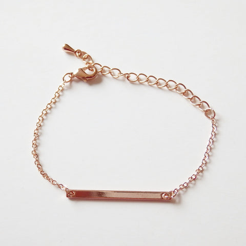 Rose Gold Bracelet with Bar, Made of Rose Gold Plated