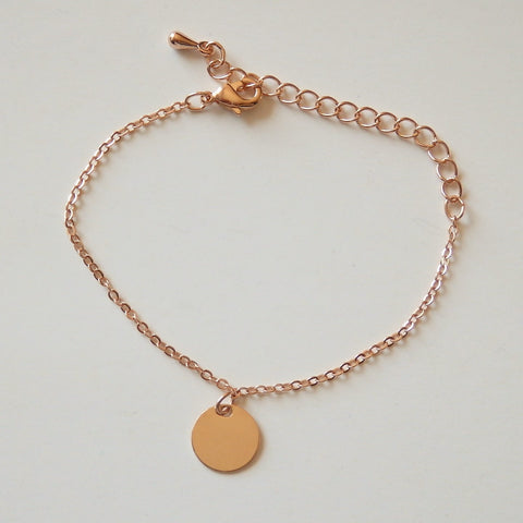 Rose Gold Bracelet with Disc, Made of Rose Gold Plated