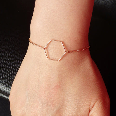 Rose Gold Bracelet with Hexagon, Made of Rose Gold Plated