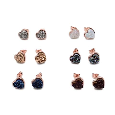 Rose Gold Druzy Earrings, Small Heart Shape