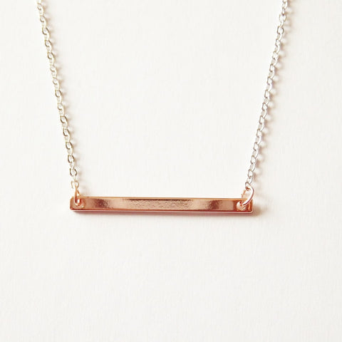 Rose gold necklace with bar pendant two tone necklace adruzy rose gold bar necklace by adruzy mozeypictures Images