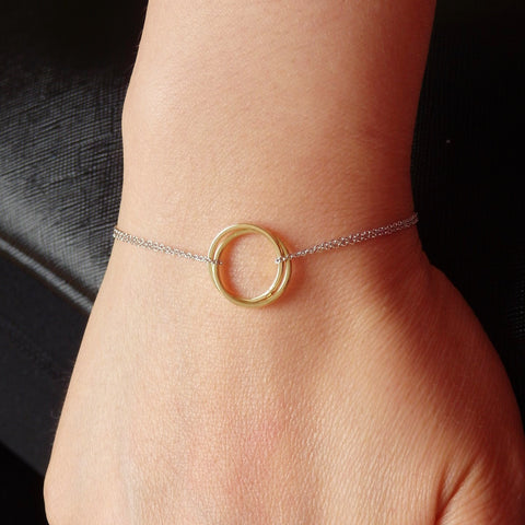 Silver Bracelets Women with Gold Circle Pendant, Two Tone Jewelry