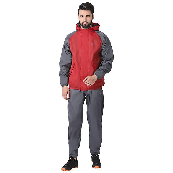Wildcraft Rain Jacket Suit 2 Tone Red_Grey