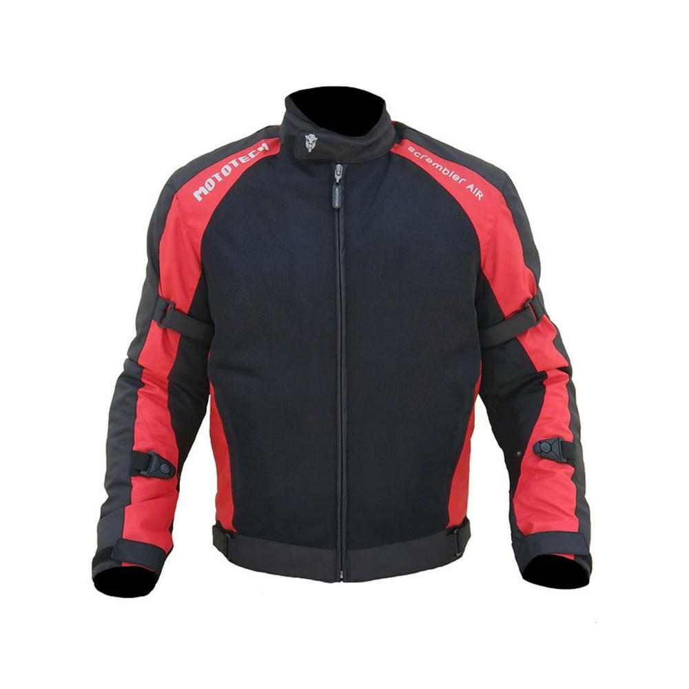 MOTOTECH Scrambler AIR Motorcycle Jacket - Combo Colors - Black + Red