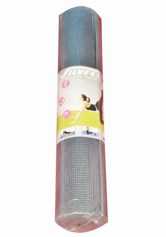 Silver's Yoga Mat with Cover, 4mm (Grey) - Ayudh Sports LLP