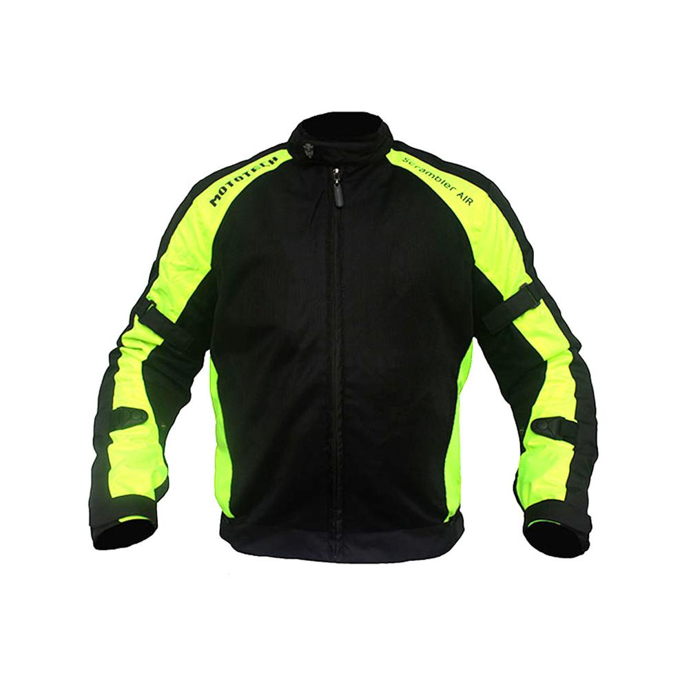 MOTOTECH Scrambler AIR Motorcycle Jacket - Combo Colors - Flourescent Green