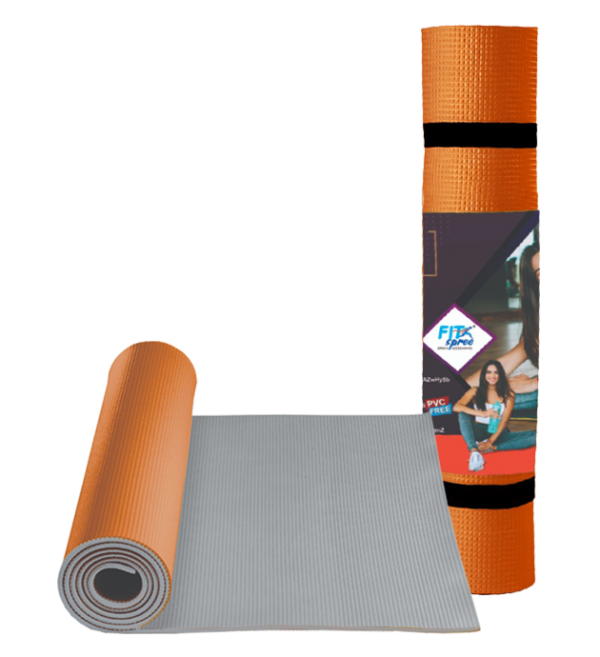 Fitspree Twin Colour Yoga Mat 5mm Orange Brand Of Supreme - Made In India