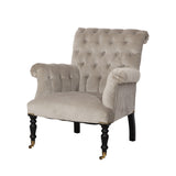 Hurley Chair Tufted Slate Grey Velvet Boutique French Furniture
