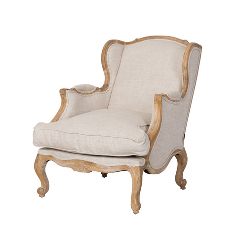 Louis Bergere French Linen Arm Chair Oak Boutique French Furniture