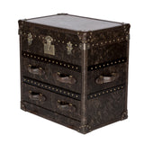 istressed Leather Trunk Living Office or Bedroom Furniture Storage