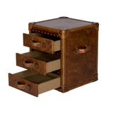 Trunk Leather Side Table Distressed Leather Furniture Open