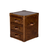 Trunk Leather Side Table Distressed Leather Furniture