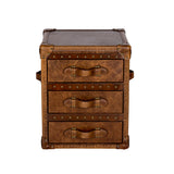 Trunk Leather Side Table Distressed Leather Furniture Front