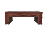 Distressed Leather Coffee Table Trunk in Vintage Leather Living Room