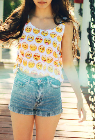 Emoji Faces Crop Top
